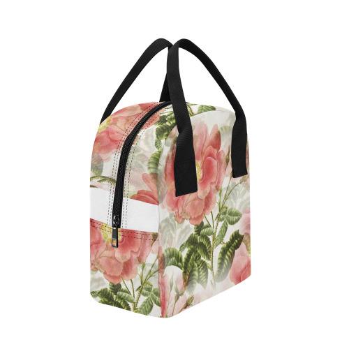Vintage Red Rose Garden Pattern Zipper Lunch Bag (Model 1689)