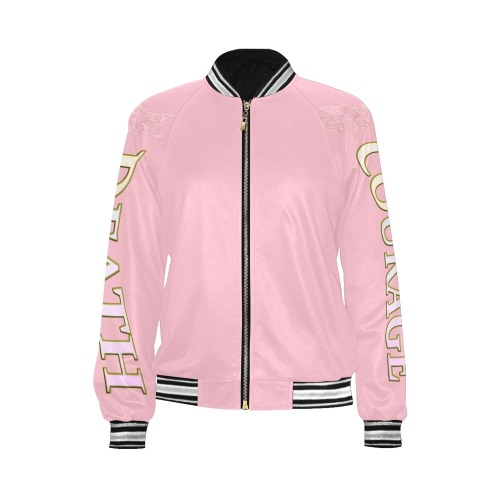 Pink Courage and Death All Over Print Bomber Jacket for Women (Model H21)