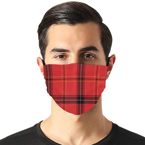 red plaid Flat Mouth Mask with Drawstring (Model M07)
