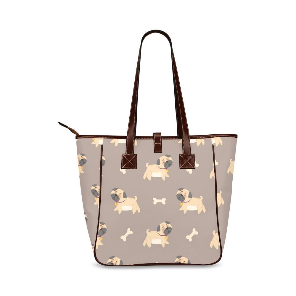 Playful Pugs Classic Tote Bag (Model 1644)