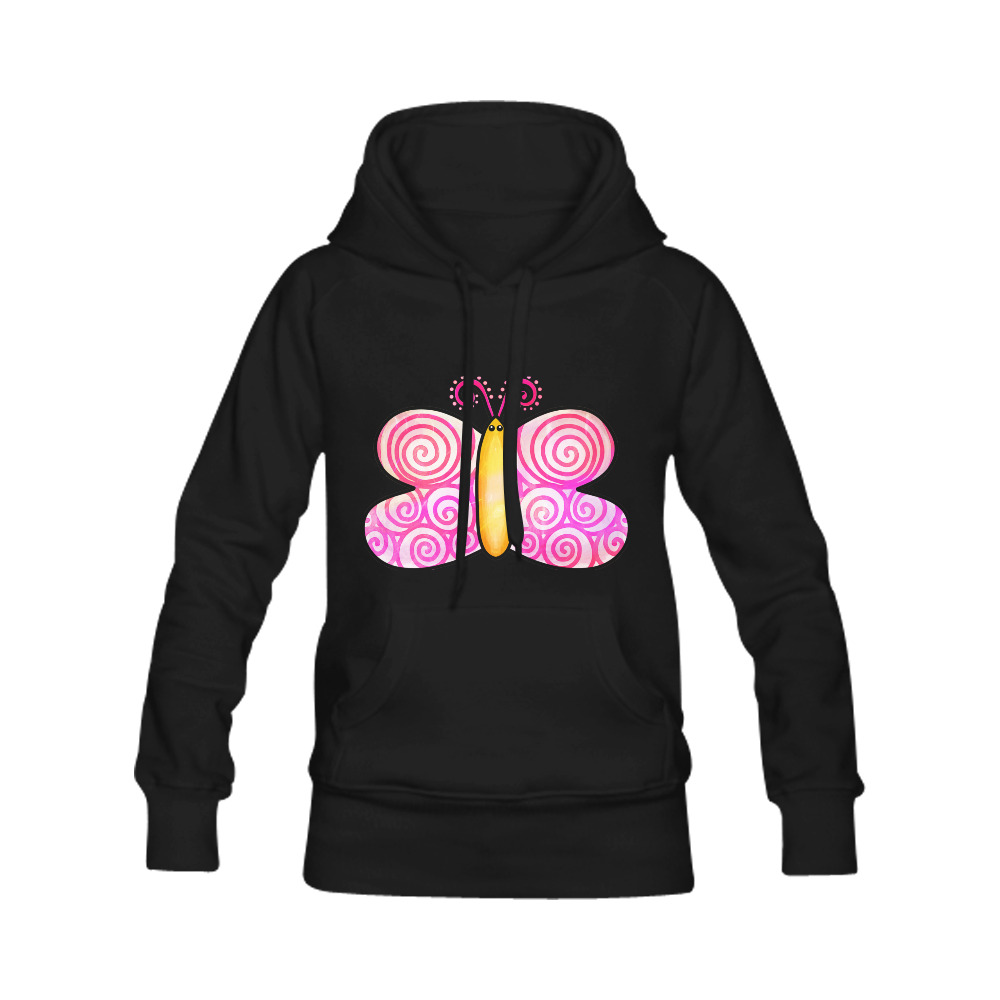 Pink Watercolor Butterfly Doodle Cartoon Women's Classic Hoodies (Model H07)