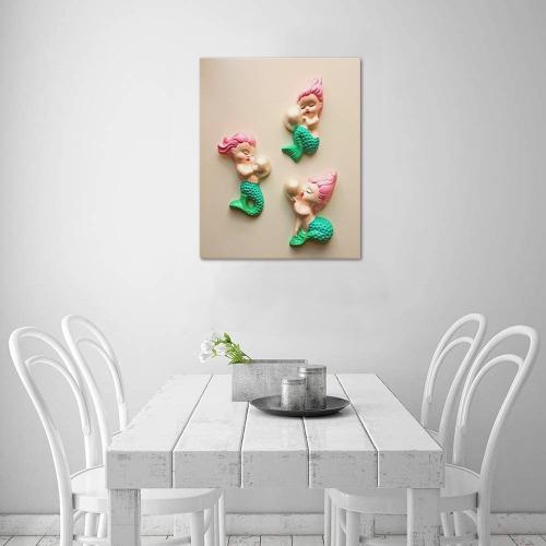 "3 Mermaids / Pearls Frame Canvas Print 16""x20"""